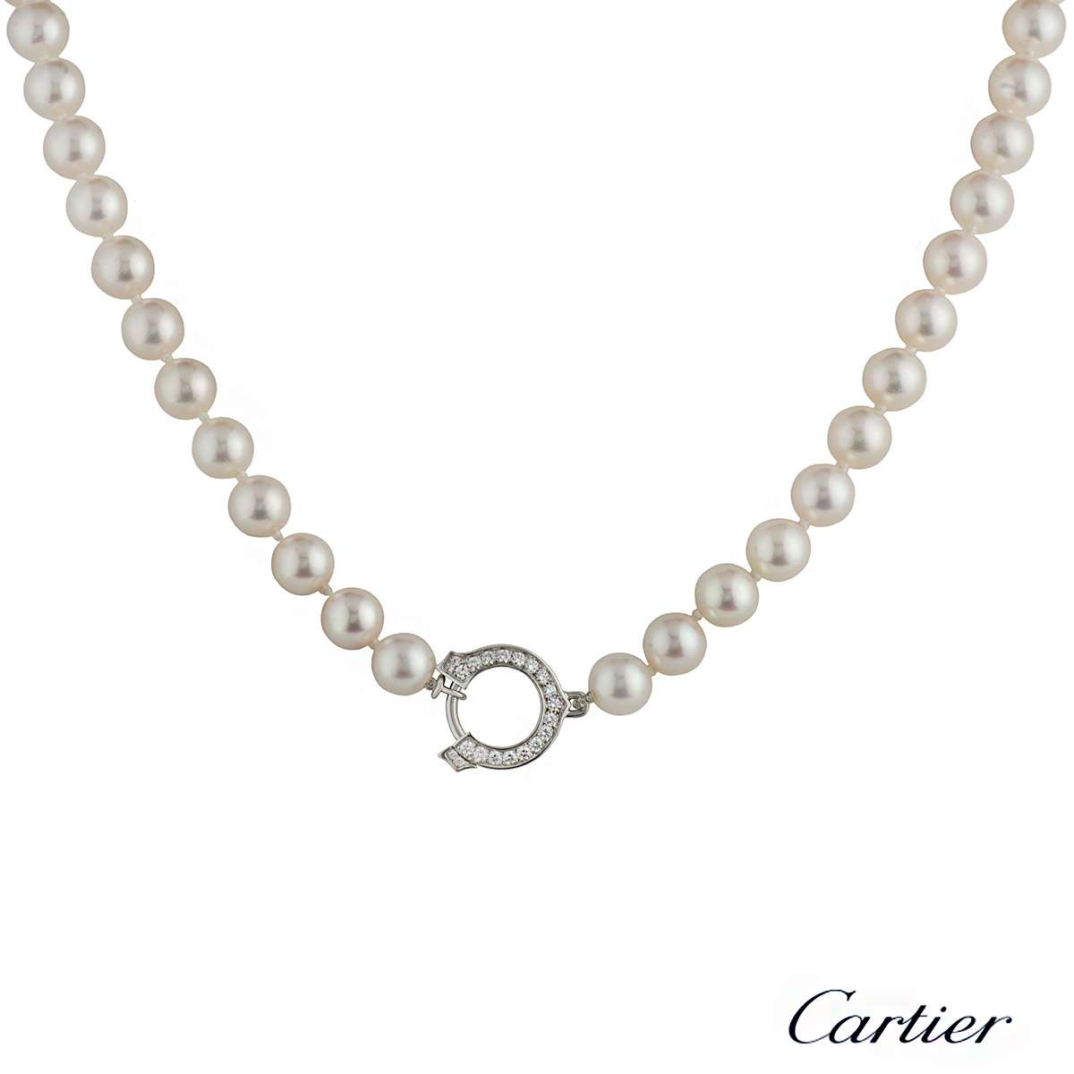 Cartier 18k White Gold Diamond and Pearl Necklace
